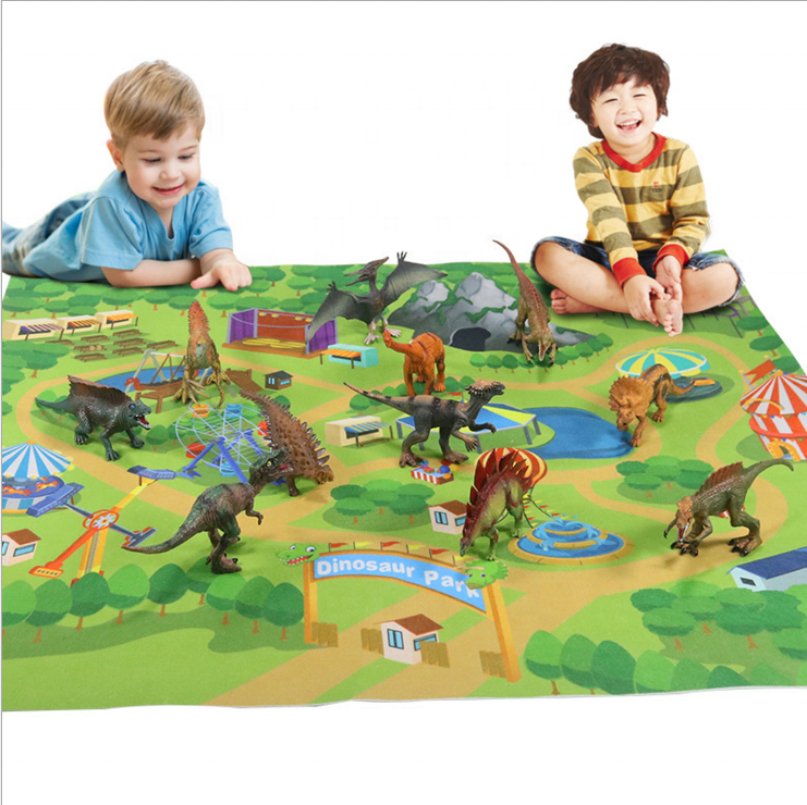 New Eco Plastic Dinosaur Model Animal Toys Set with Activity Play Mat