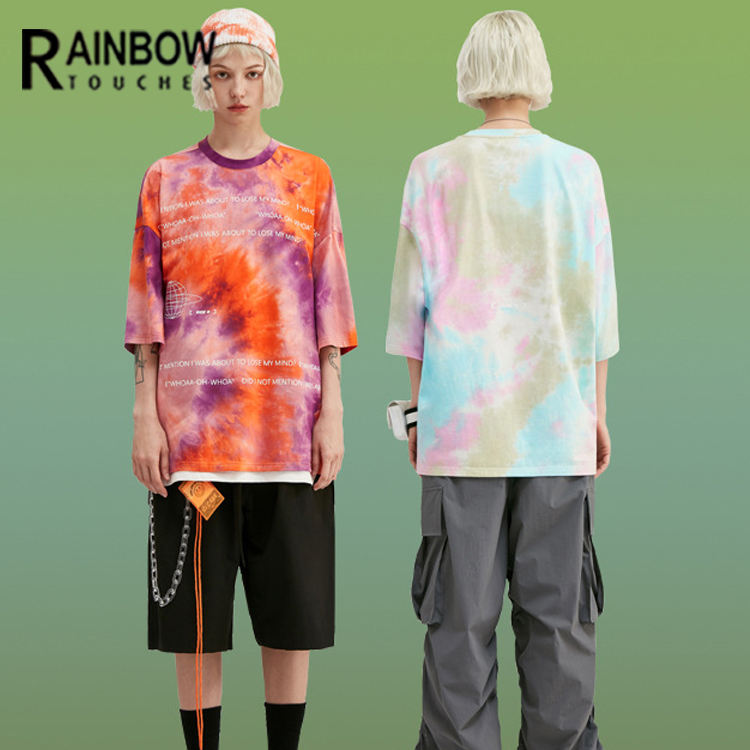 Custom Men Women Unisex Slouchy Oversized Print Tie Dye T Shirt