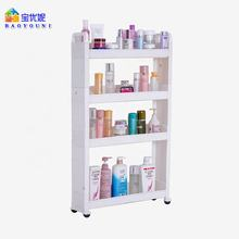 4 Layers Plastic Bathroom Shampoo Soap Rack Kitchen Spice Bottle Holder Storage Trolley On Rollers Crevice Shelves
