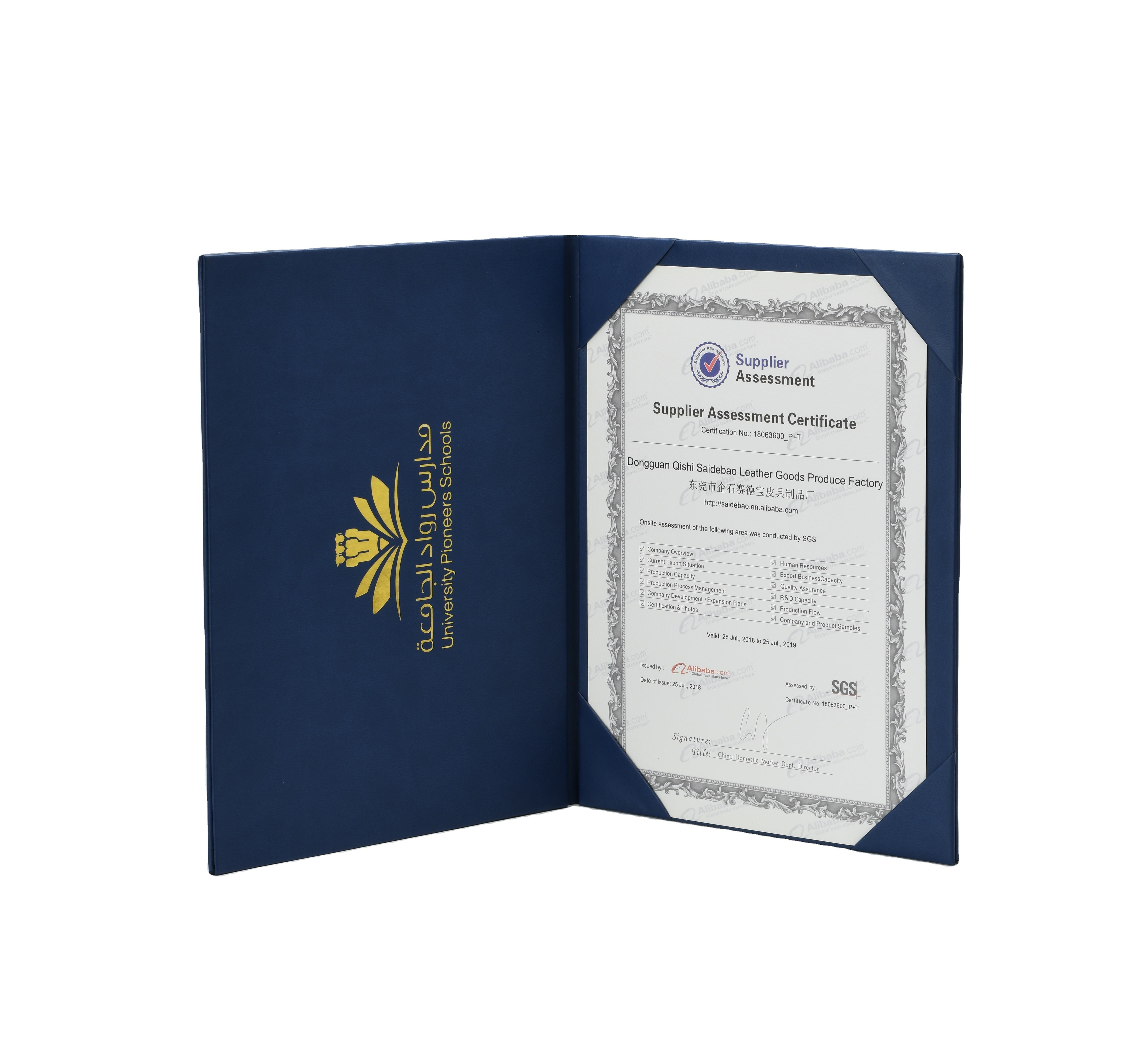 Factory Direct Sale Diploma Document Cover Pu Certificate Holder