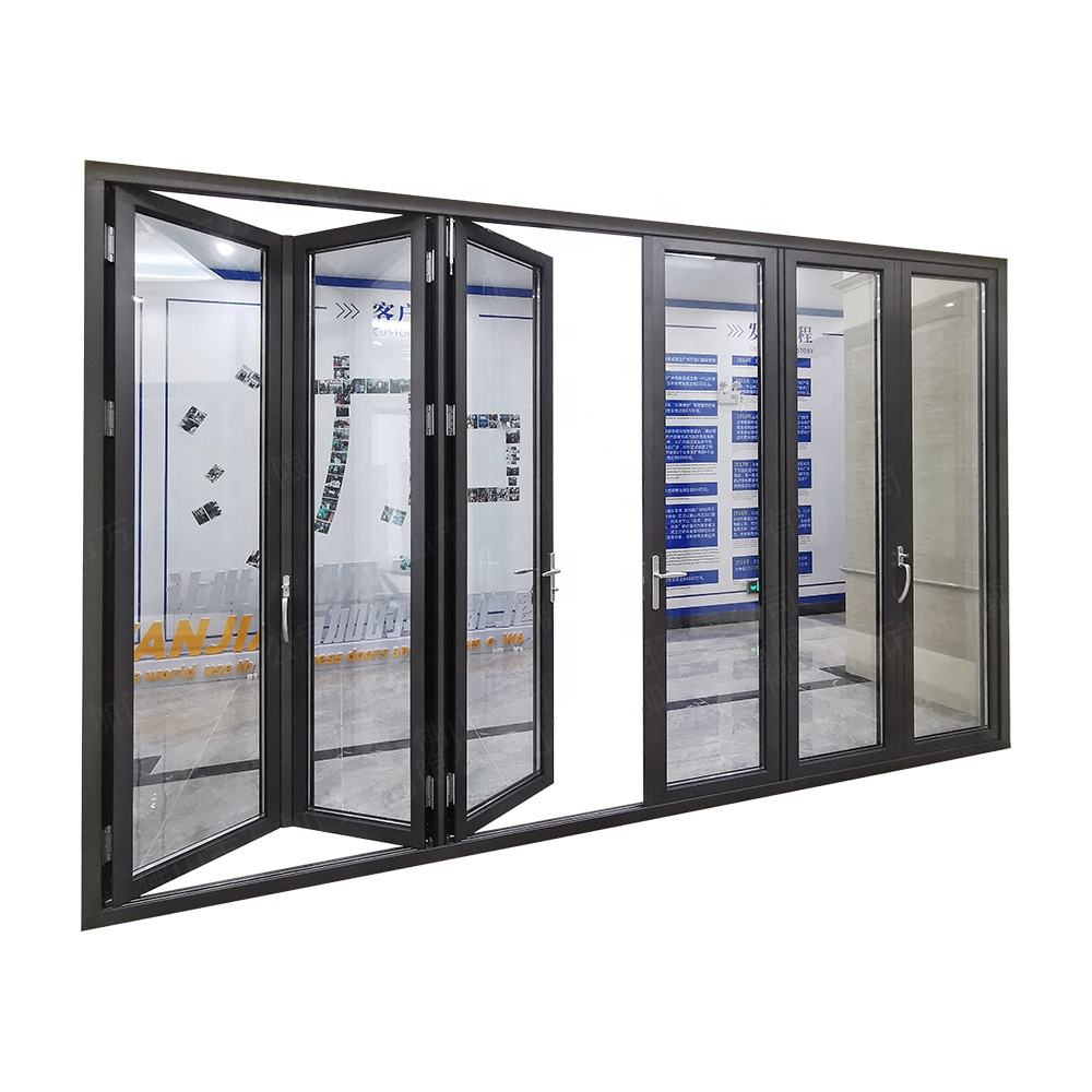 Bulk order good price exterior bi folding door for patio aluminum glass folding door