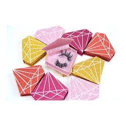 LOGO printing available diamond shape glitter eyelash packaging box