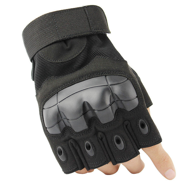 Fingerless Half-Finger Hard Knuckles Tactical Gloves Motorcycle Driving Gloves Riding Gloves