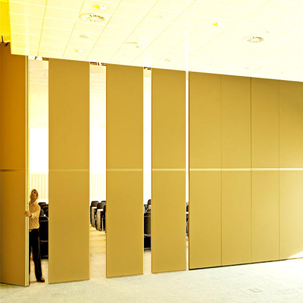 Acoustic wooden fabric sliding folding partition movable operable wall for Hyderabad Kolkata hotel banquet hall