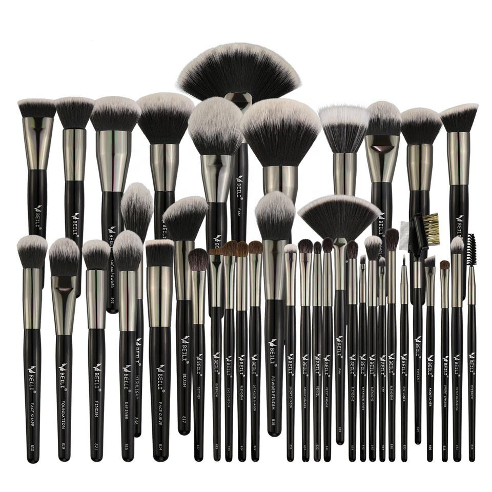 BEILI brush make set up Black Luxury Makeup Brush Set Kit Wholesale Price Wood Handle Accept Private Label Cosmetic makeup brush