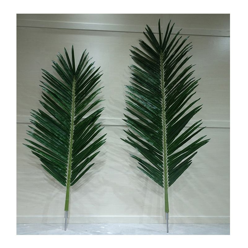 UV resistant 3m height outdoor artificial palm tree leaves, artificial coconut palm fronds, outdoor round tube coconut leaf
