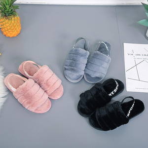 Winter Fluffy Furry Slippers House With Fur Slides Female Warm Soft Indoor plush slippers women