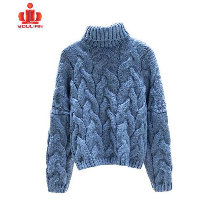 Design Fashion Pullover Cable Colorful Embossed Hand Knitted Crochet Sweater