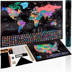 Scratch world Map With accessories, low MOQ scratch off map, OEM scratch map