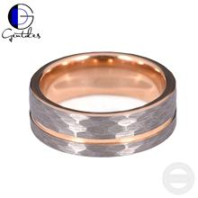 Gentdes Jewelry Custom Hammered Rose Gold Mens Tungsten Wedding Rings
