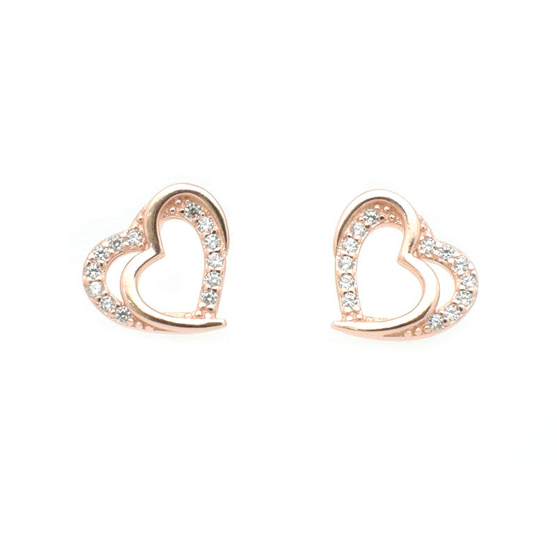 Exquisite fashion zircon Heart-shaped 925 silver earrings