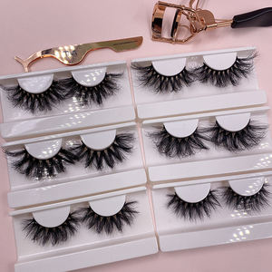 Wholesale custom false 3d full strip lashes 25mm wispy mink eyelashes private label vendor mink eyelash packaging box