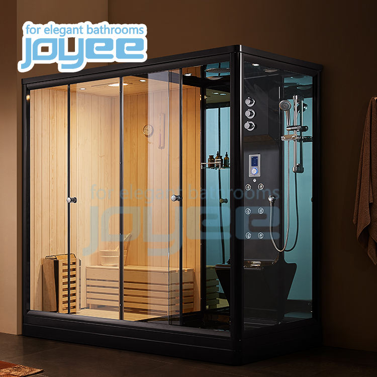 JOYEE 2 person bathroom wooden wet steam bath and dry sauna combination room ozone steam shower cabin with Harvia sauna stove