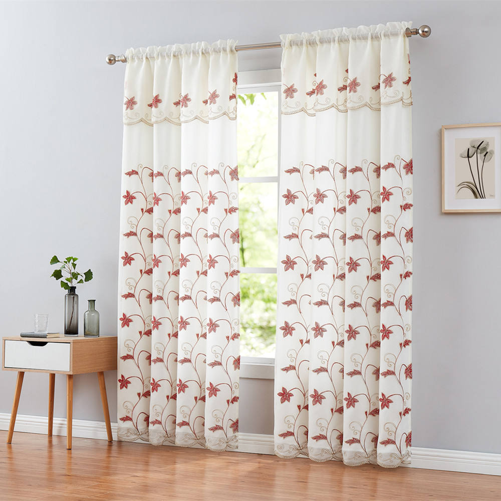 Delicately latest fashion red ferns embroidery on white dolly sheer rod pocket double layer curtain scalloped bottom valance