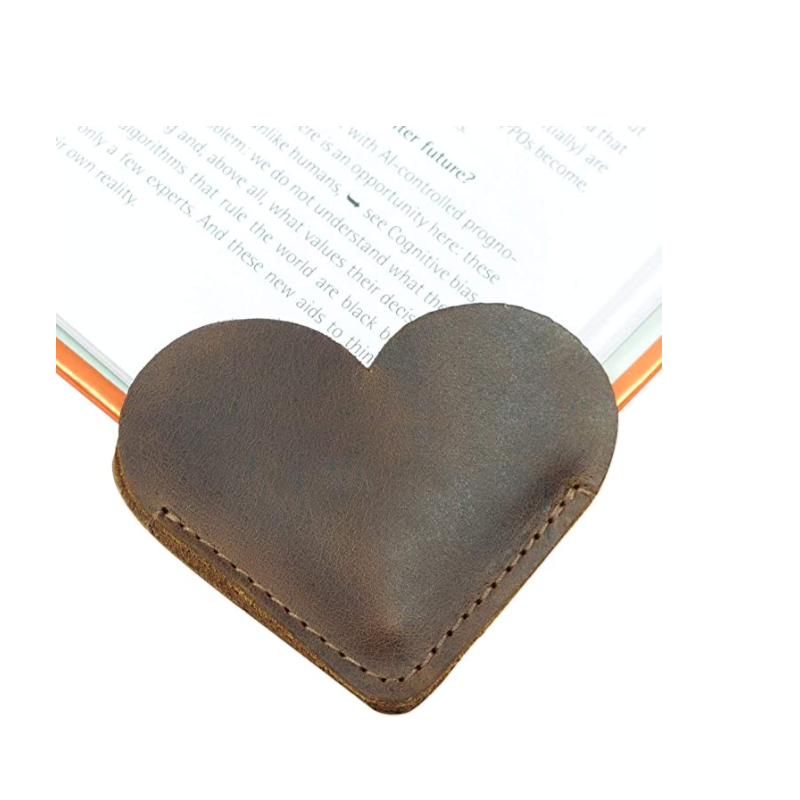 Custom Genuine Leather Heart Bookmark Creative Bookmark Gift For Book Corner Protection