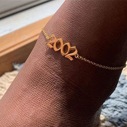 1980-2019 Wholesale Initial Number Birth Year Anklet Gold Stainless Steel Anklets Foot Jewelry Women BHAP029