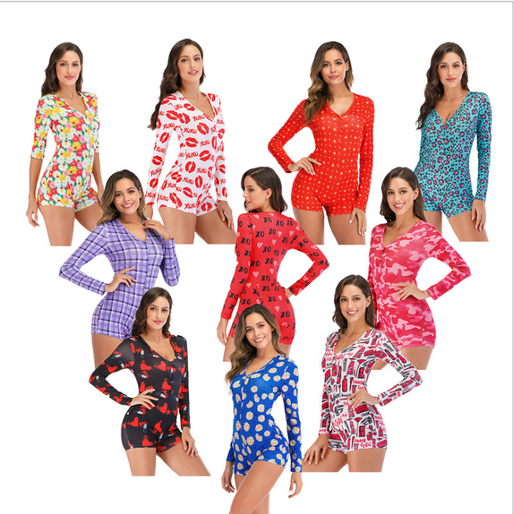 Wholesale Heart & Letter Print Pajama Onesie Adult Set Women Summer Nighty Cotton Sleepwear