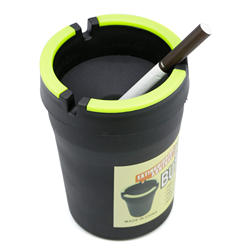 cheap  plastic outdoor car ash tray cup holder with lid custom logo butt bucket