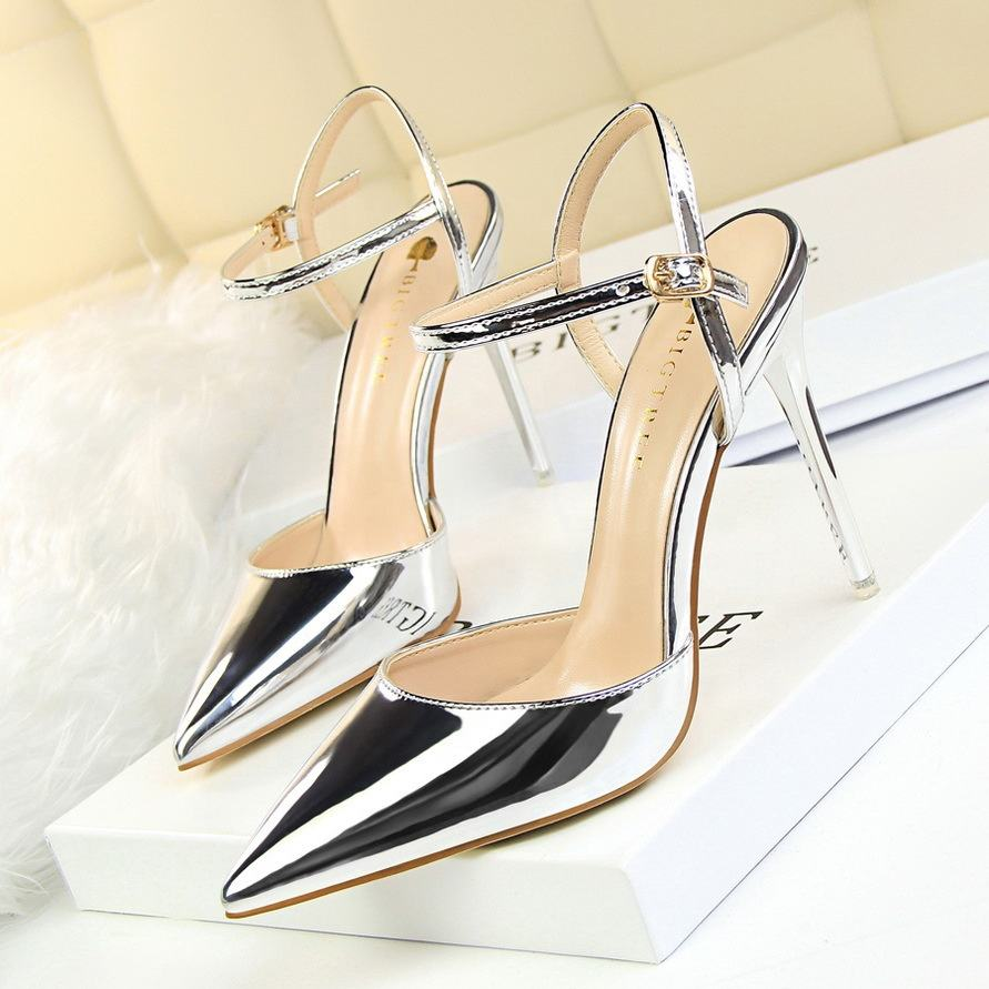 2019 Intalian 10cm women sexy high pole heel shoes for ladies
