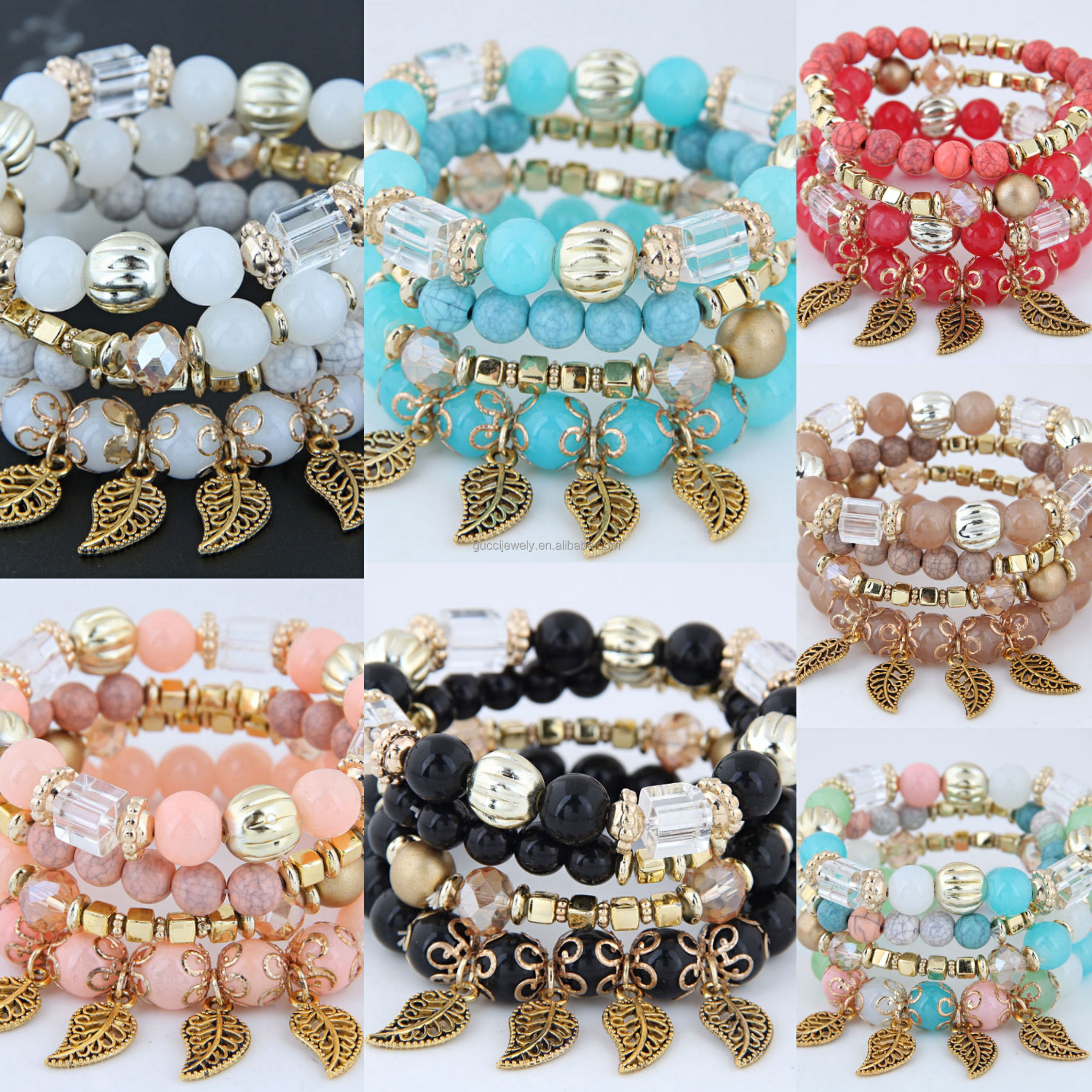 Quanzhou Wholesale Cheap Stylish Multi Leaves Glass Beaded Bracelet Of Women Ethnic Style Lady's Pendant Charm Bracelet
