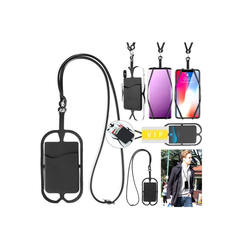 Customized logo design card holder phone case silicone mobile phone card holder with lanyard cell phone case card holder