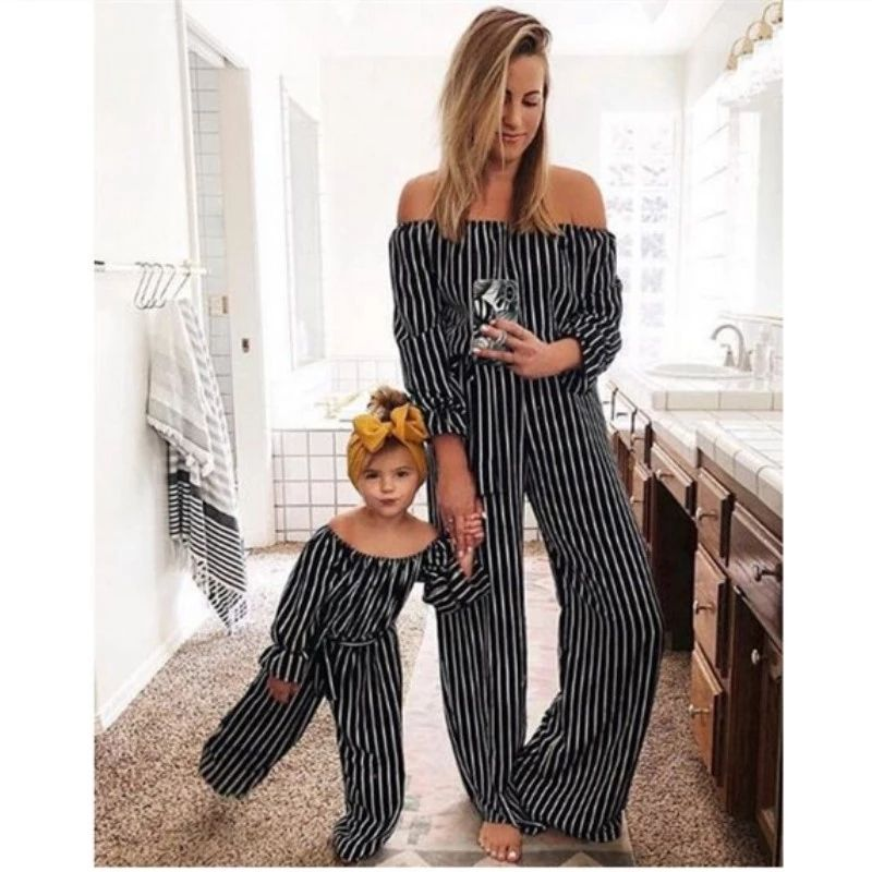 Family Matching Clothes black striped full Printed Long Dress Mother Daughter Dresses Matching Outfits Mommy and me clothes