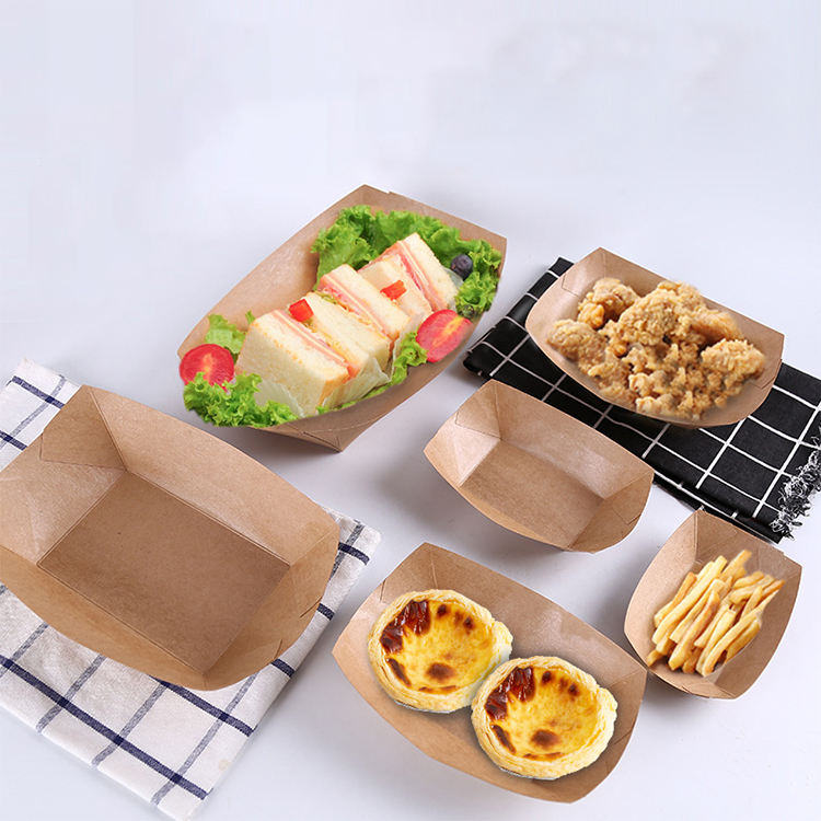 Disposable kraft paper boat Vegetable fruit salad box for food container