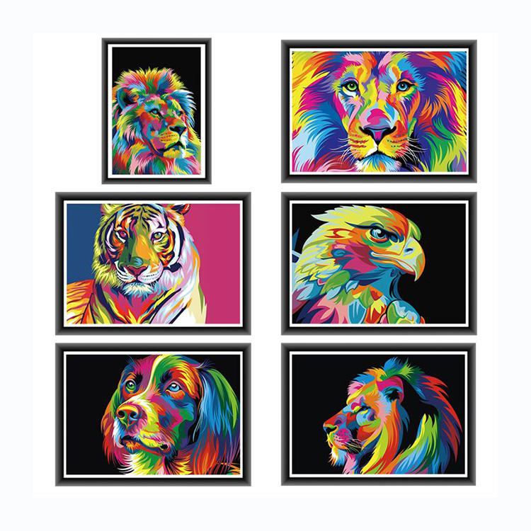 Colorful Lion Animals Abstract Painting Diy Digital Painting By Numbers Modern Art Picture For Home Wall Artwork