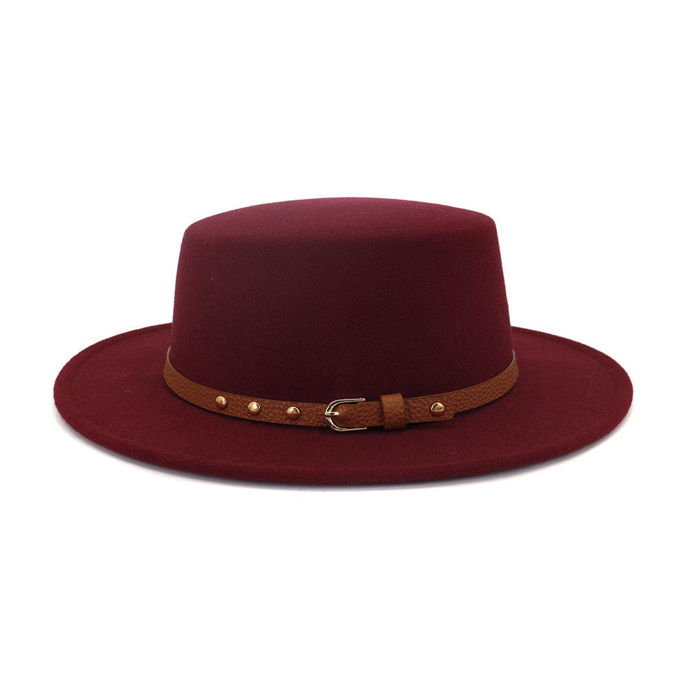 Vintage woollen flat-top hats fashion fedoras for adult hat wholesale