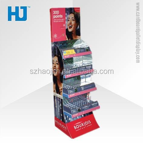 Bandeja de exibição de papelão para cosméticos da marca de material reciclado, mac cosméticos móveis loja de conveniência para Bourjois Corar