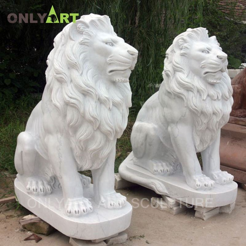 Garden Decorative Hand Carved Western Style Animal Sculpture Large Natural White Marble Stone Lion Statue