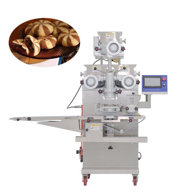 PLC touch screen double fillings two colors biscuit cookies encrusting machine for sale