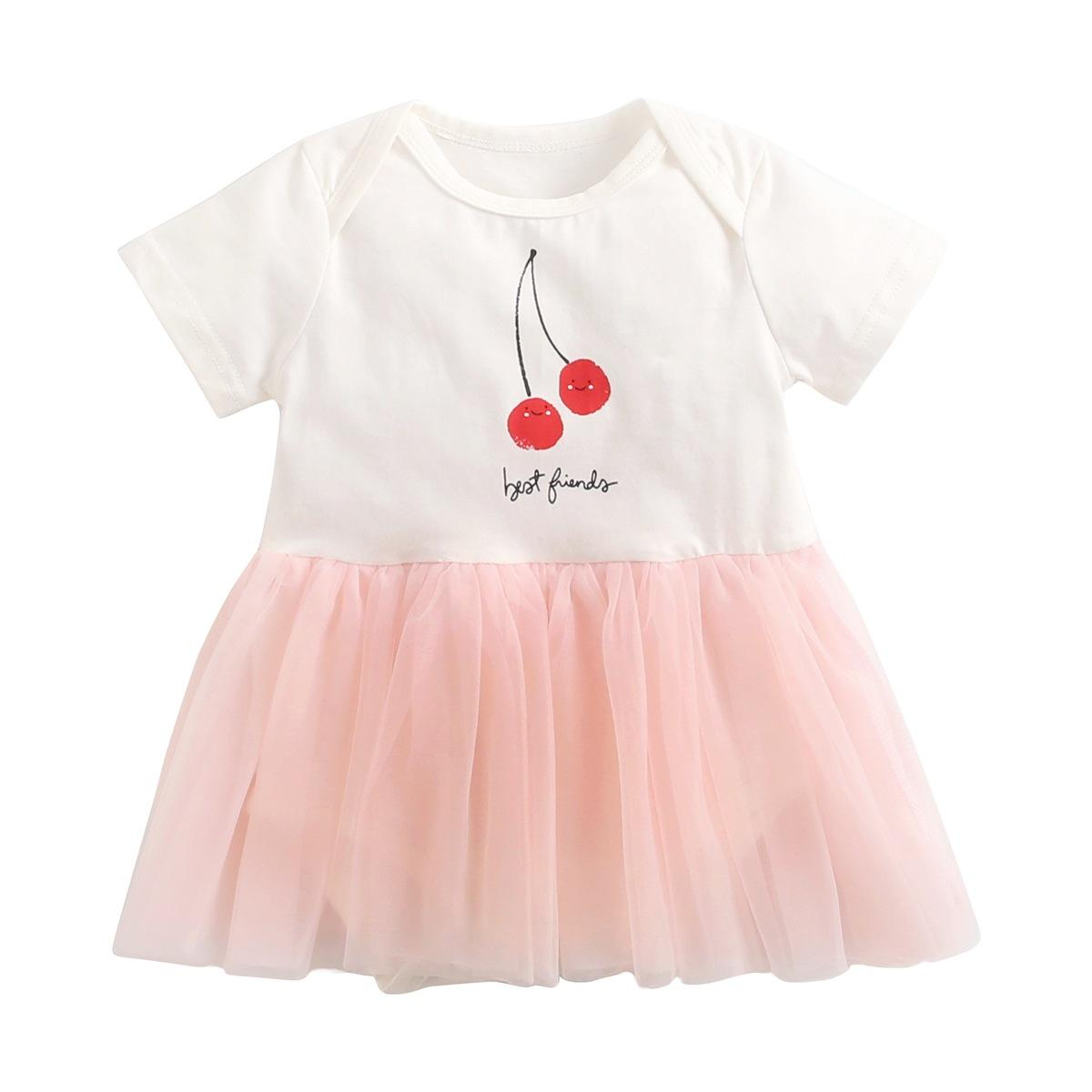 Factory In Stock Discuount Summer Cherry Print Dress Girl Baby Romper