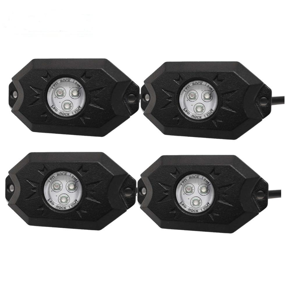 4 Pods Multicolor LED Light Kit RGB Off Road LED Rock Lights with Bluetooth Controller, Timing Function, Music Mode
