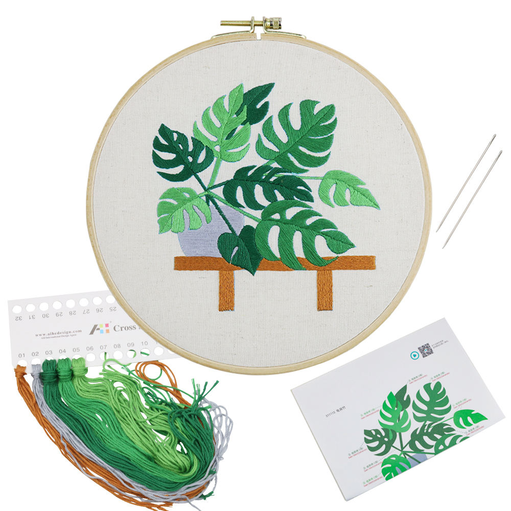 Wholesale Home Textile Crafts Green Flower Plant Bonsai Pattern Embroidery Starter Kit DIY Cross Stitch Tool Kits For Adults