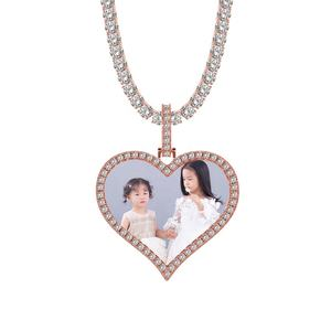 Custom Photo Picture Memory Medallions Heart Pendant Necklaces Hip Hop Bling jewellery Sublimation Cubic Zirconia Heart Necklace
