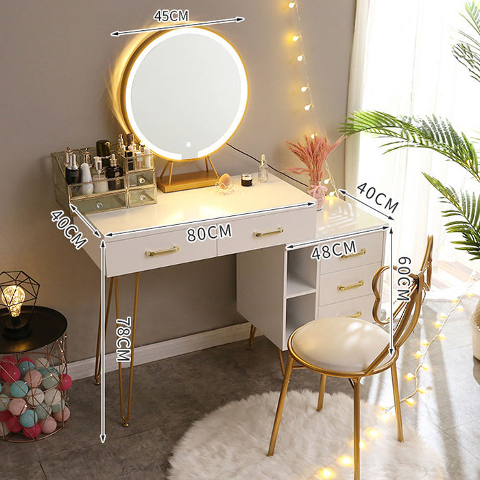 China Factory Wholesale Dresser Light Bedroom Furniture hot sale Dressing Table Luxury metal Makeup Table with Mirror