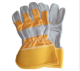Low Price Warm Yellow And Grey Cowhide Leather Working Gloves Palm Reinforced Welding Cow Split Leather Work Safety Gloves