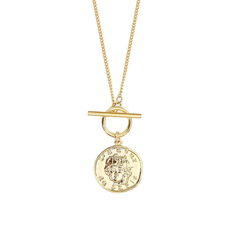 SP 2020 New Design Fashion 16K Gold Plated Alloy Made Jewelry Face Engraved Coin Necklace For Ladies