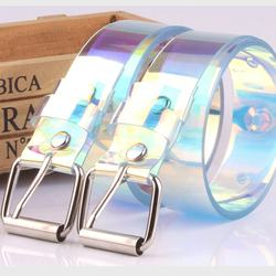 Transparent Women Belt Laser Holographic Clear Buckle Wide W
