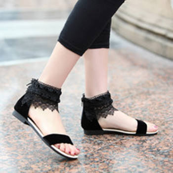 2019 new summer sandals Elegant Women shoes Black White Lace Ankle Hollow Out casual sandals