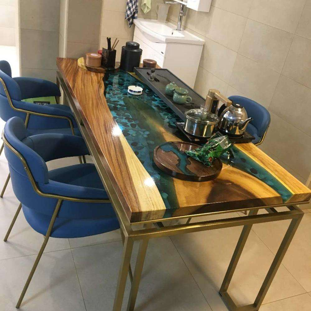 Blue water resin river wood island work bar kitchen table