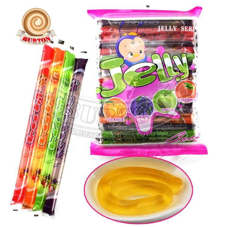 Long jelly stick assorted fruit flavor jelly straws sticks candy