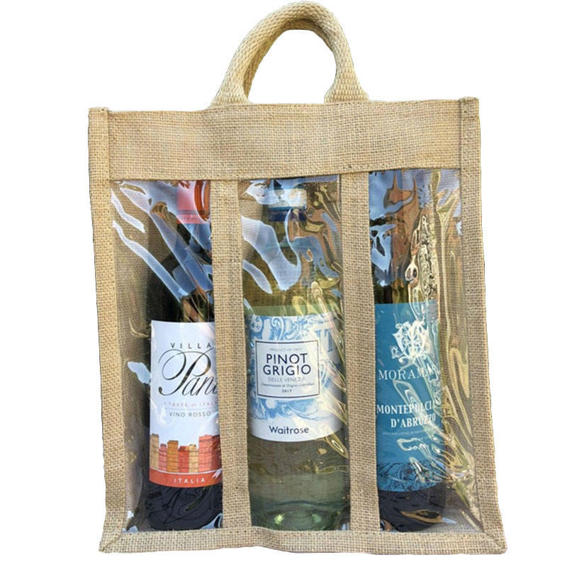 Triple pvc windows 3 wine compartments gift carry tote bag jute wine bag