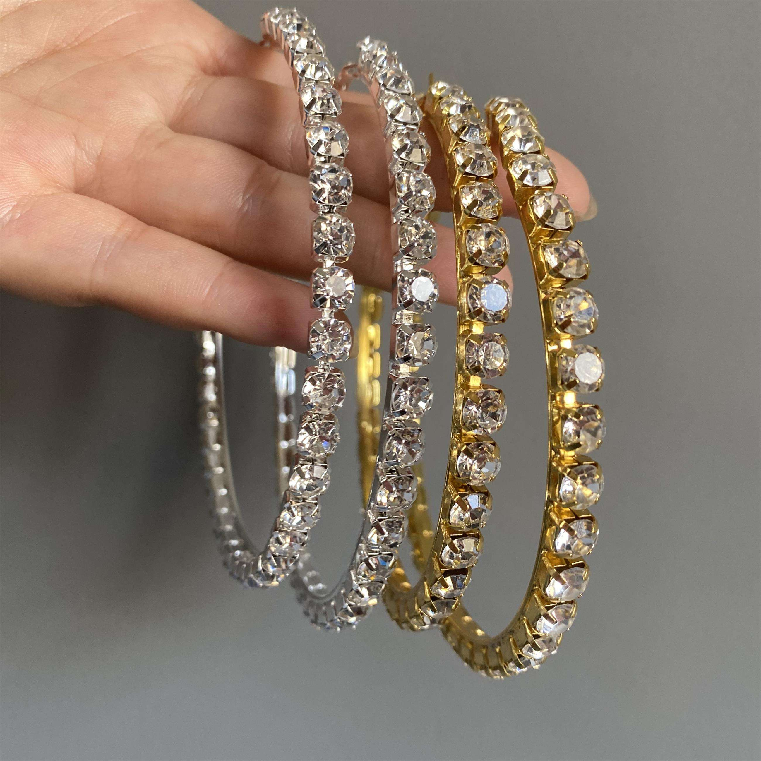 Big Large Stone Rihanna Style Hoop Earrings Hip Hop Real Big Fashion Crystal Diamond Hoop Earrings