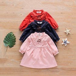 Amazon Hot Selling Infant Baby Girls Dress Fly Sleeve bow Tops Casual Solid Ruffle Princess Tutu Dress 0-6 Years Autumn Outfits