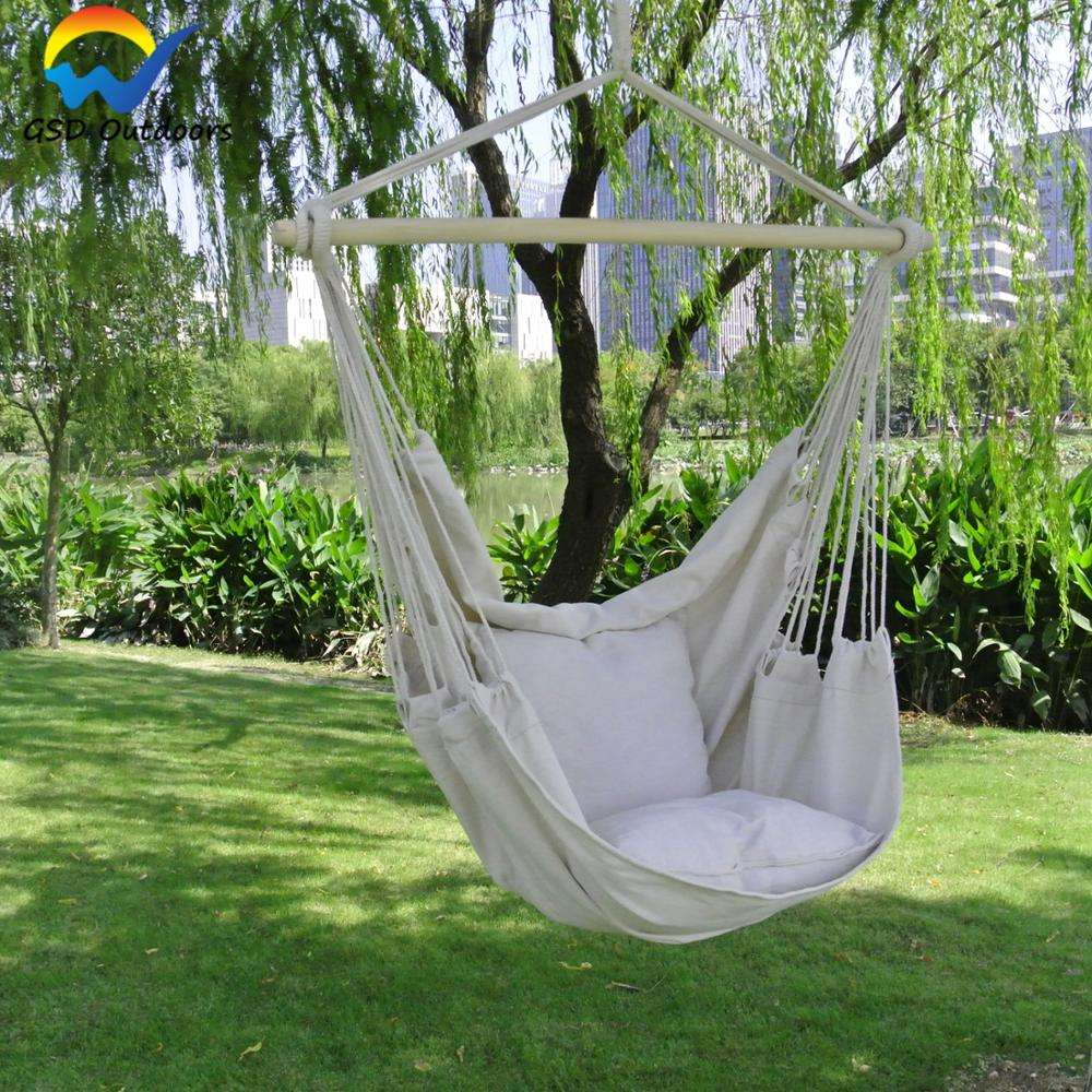Portable Hammock Chair Hanging Chair Swing Chair Seat with 2 Pillows for Indoor Leisure Ceiling Hang Swing Hammock