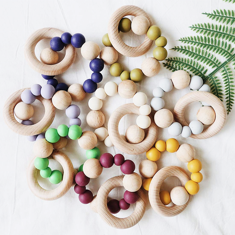 Mix color Baby Teether Nursing Bracelet Silicone Beads Wooden Ring Wood Beads Teether