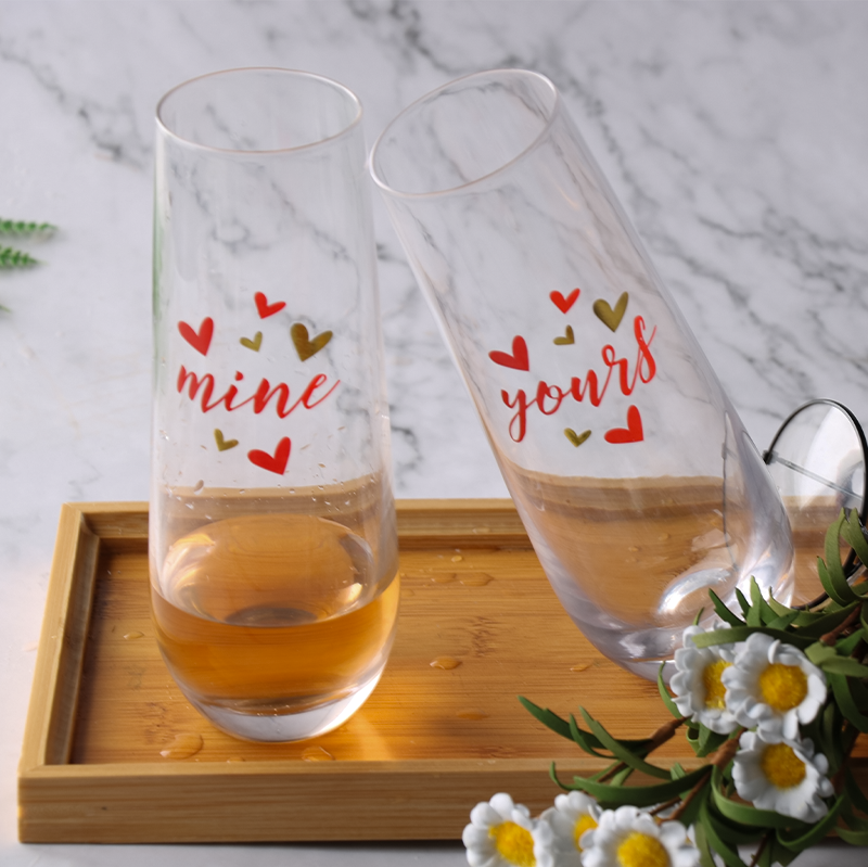 Fancy household heart shaped decal thick bottomed oval crystal glass cup champagne glasses
