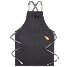 Customized  Cotton Cafe Bar Apron Restaurant Kitchen Denim Apron With Logo